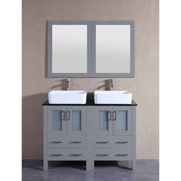 Aria 47 Double Bathroom Vanity Set with Mirror by Bosconi