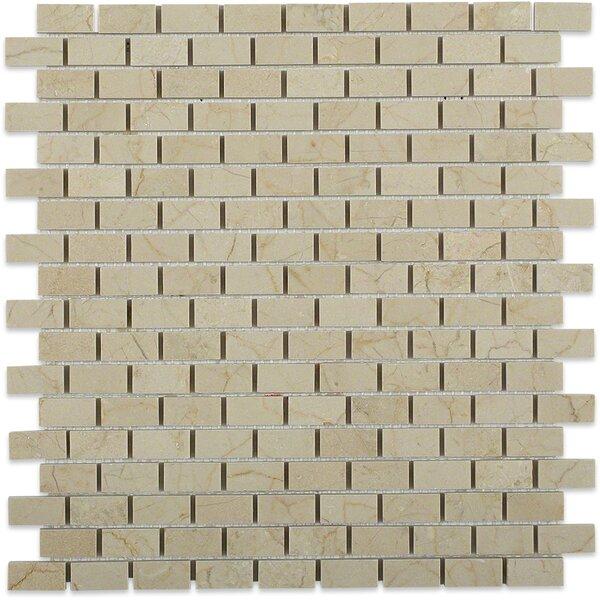 Bricks 1 x 2 Marble Mosaic Tile in Crema Marfil by Splashback Tile