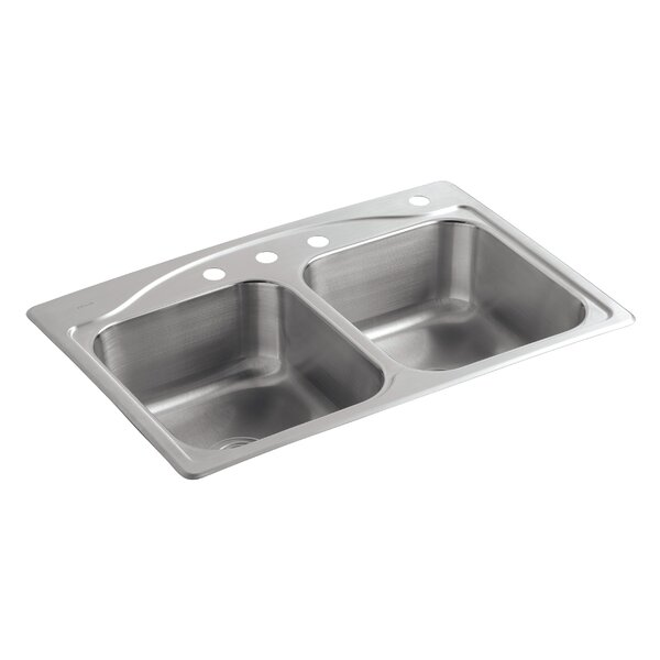 Cadence 33 L x 22 W x 8-5/16 Top-Mount Double-Equal Kitchen Sink with 4 Faucet Holes by Kohler