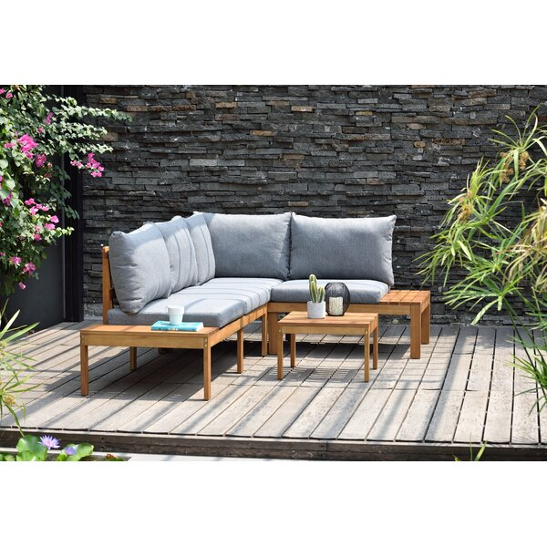 Olinda 3 Piece Sectional Seating Group with Cushions by Wrought Studio