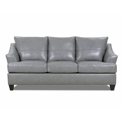 Stjohn Leather Sofa Bed Ivy Bronx Upholstery Color: Silver