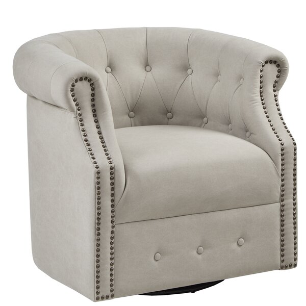 Lought Swivel Barrel Chair by Three Posts
