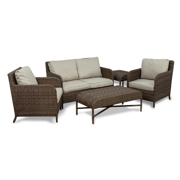 Bavis 5 Piece Rattan Sofa Seating Group with Cushions by Gracie Oaks