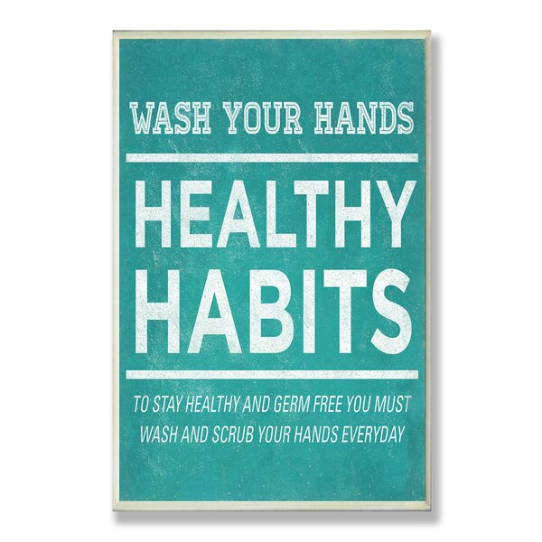 Healthy Habits Typography Bathroom Wall Plaque by Stupell Industries