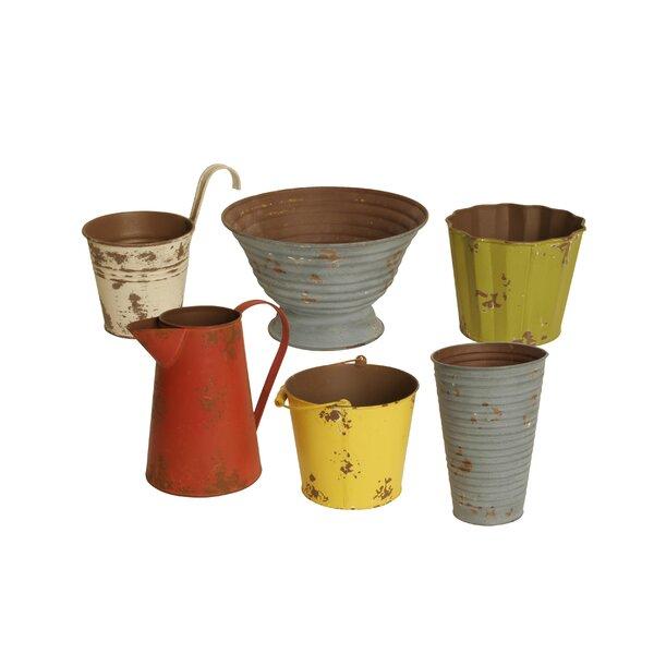 Assorted Colors 6-Piece Metal Pot Planter Set by WaldImports