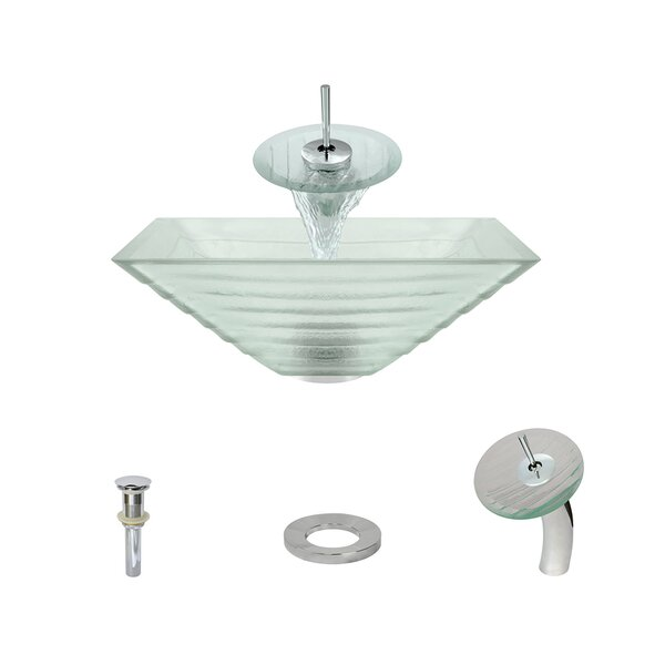 Tiered Glass Square Vessel Bathroom Sink with Faucet by MR Direct