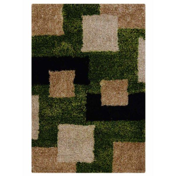 Willaims Shag Geometric Hand-Tufted Green/Black/Beige Area Rug by Latitude Run