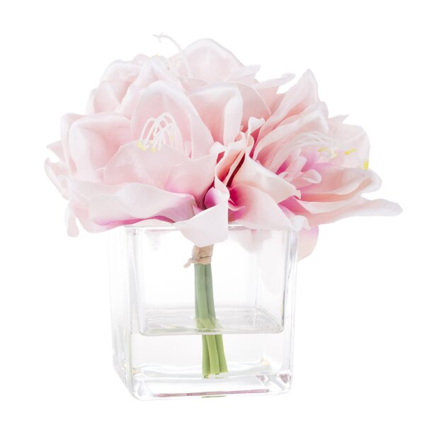 Lily Floral Arrangement in Glass Vase by Ophelia & Co.