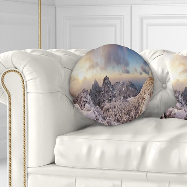 Landscape Wall Huangshan Hill Snow in Winter Throw Pillow by East Urban Home