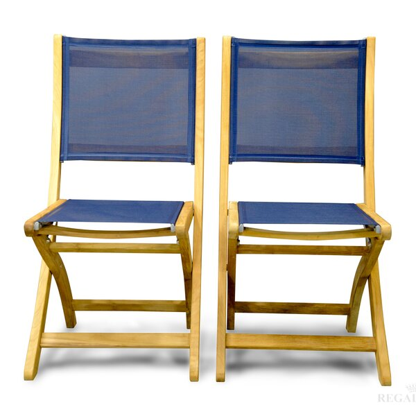 Prescott Folding Teak Patio Dining Chair (Set of 2) by Rosecliff Heights Rosecliff Heights