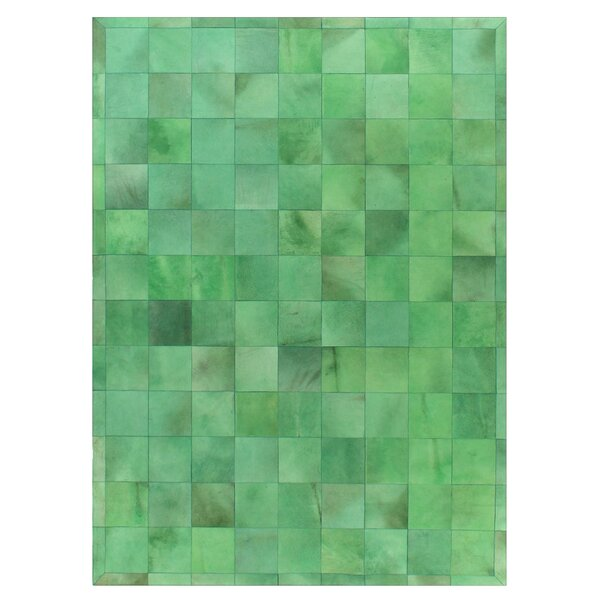 Natural Hide Hand-Tufted Cowhide Green Area Rug by Exquisite Rugs