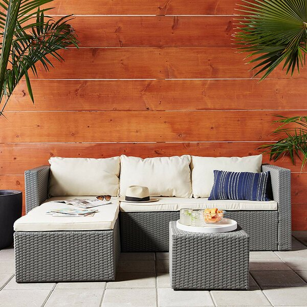 Cleethorpes 3 Piece Rattan Sectional Seating Group with Cushions by Orren Ellis