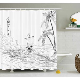 Savings Bryner Beach Seascape Sketch With Boat Palm Tree and Lighthouse Coastal Hand Drawn Artwork Shower Curtain By Highland Dunes