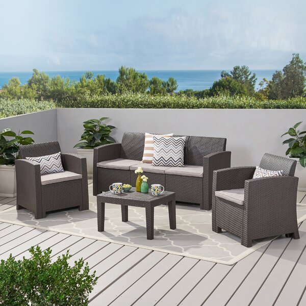 Bartz 4 Piece Sofa Seating Group with Cushions by Highland Dunes