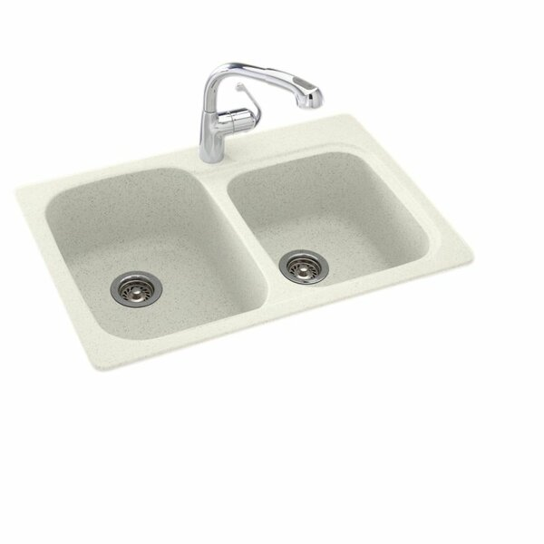 Solid Surface 33 x 22 Double Basin Drop-In Kitchen Sink by Swan
