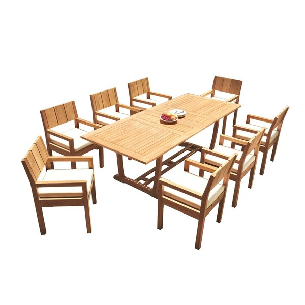 Chaz 9 Piece Teak Dining Set by Rosecliff Heights