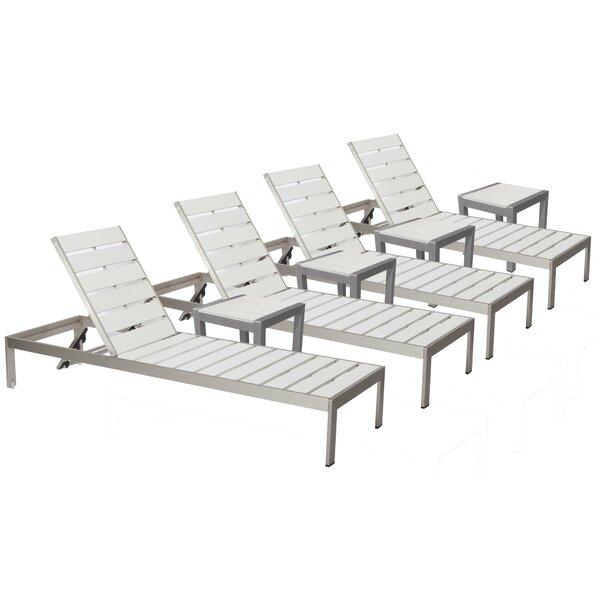JSPH LRG 4 Chaise Lounge Set with Table by Wade Logan