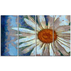 'Hand Drawn White Chamomile Flower' 4 Piece Painting Print on Wrapped Canvas Set by Design Art