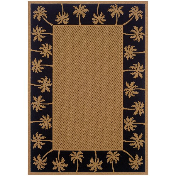 Goldenrod Beige/Black Indoor/Outdoor Area Rug by Bay Isle Home