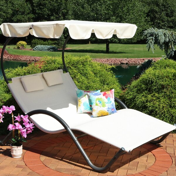 Charlbury Double Chaise Lounge with Cushion by Ebern Designs