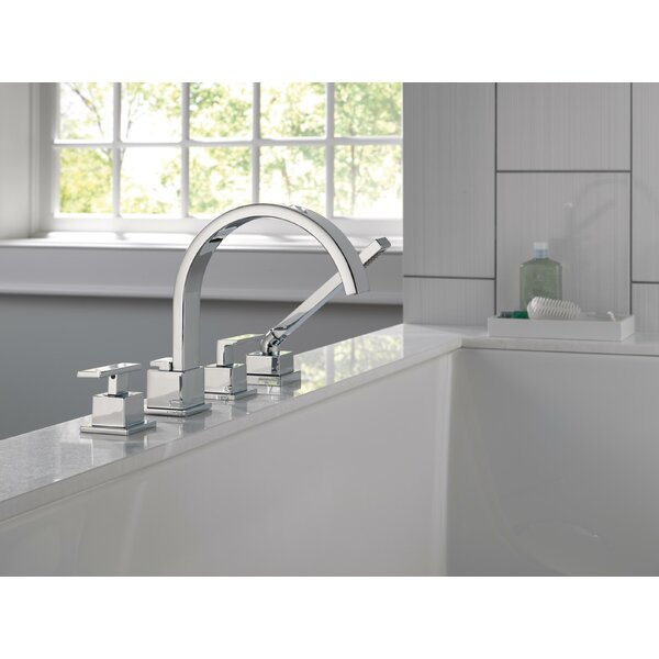 Vero Double Handle Deck Mounted Roman Tub Faucet Trim With Handshower By Delta