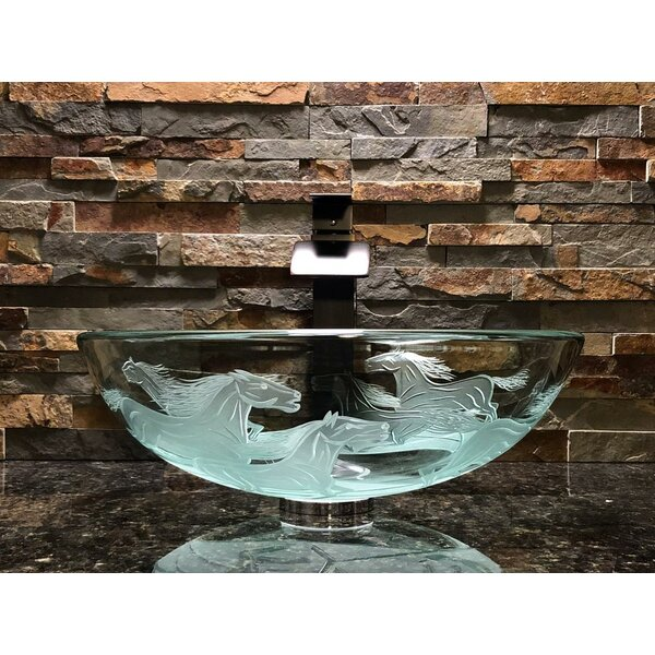 Nokota Glass Circular Vessel Bathroom Sink by Elegant Glass Engraving Studio