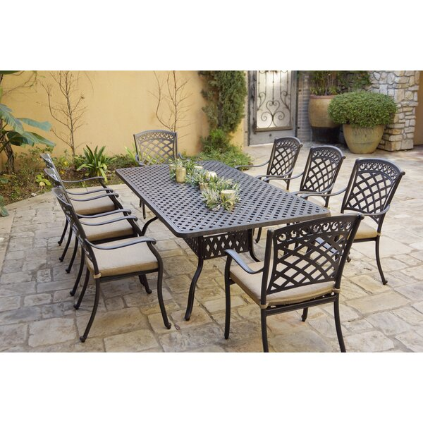 Loveland 9 Piece Dining Set with Cushions by Fleur De Lis Living