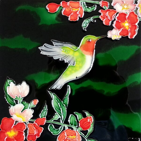 Ruby Hummingbird Flowers Tile Wall Decor by Continental Art Center