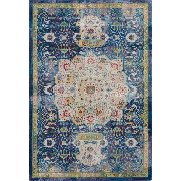 Oglethorpe Blue/Cream Area Rug by Bungalow Rose