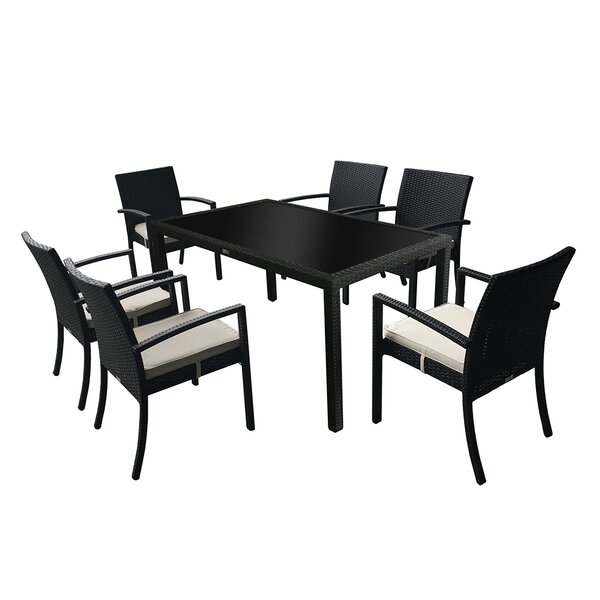 Audubon Outdoor Rattan 7 Piece Dining Set by Latitude Run