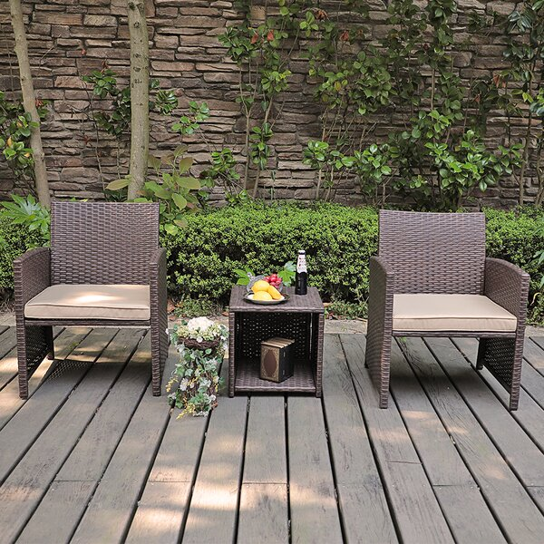 Rand 3 Piece Rattan  Seating Group with Cushions