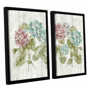 Vibrant Row of Hydrangea 2 Piece Framed Painting Print on Canvas Set by Ophelia & Co.