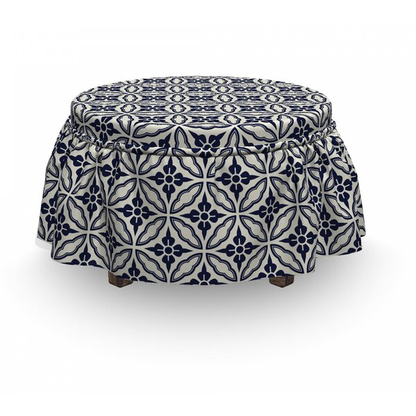 Geometric Japanese Mandala 2 Piece Box Cushion Ottoman Slipcover Set By East Urban Home