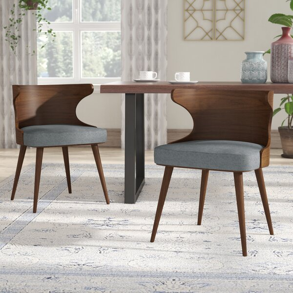 Lilyanna Mid-Century Fabric Walnut Upholstered Dining Chair (Set of 2) by Langley Street