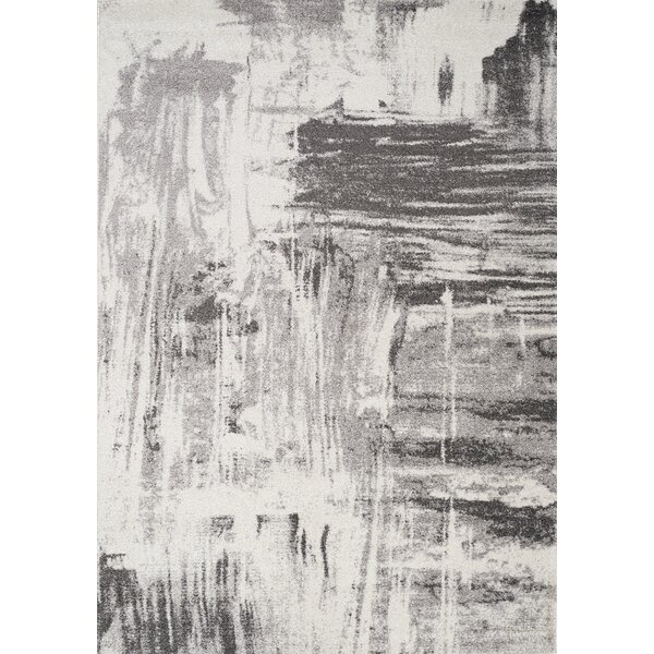 Daphne Brushstrokes Gray Area Rug by 17 Stories