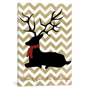 'Deer' Graphic Art on Wrapped Canvas in Black by East Urban Home
