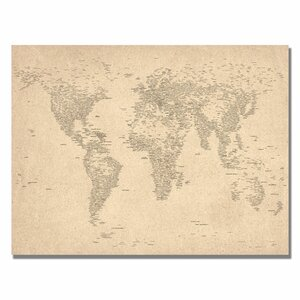 'World Map of Cities' by Michael Tompsett Graphic Art on Wrapped Canvas by Trademark Fine Art