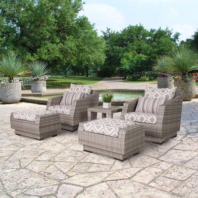 Wade Logan Rattan Conversation Set Cushions Fabric Seating Groups