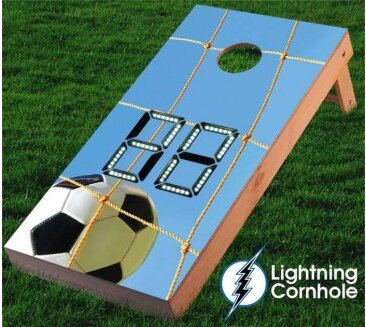 Electronic Scoring Soccer Net Cornhole Board by Lightning Cornhole