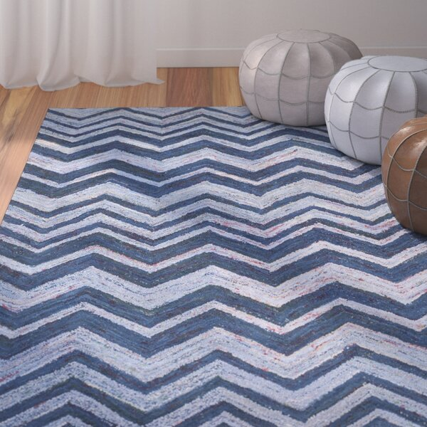 Anaheim Hand-Woven Cotton Blue Area Rug by Bungalow Rose