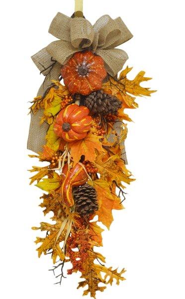 Pumpkin and Oak Leaf Door Swag by Floral Home Decor