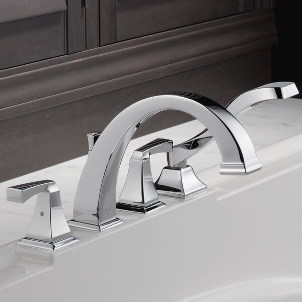Dryden™ Double Handle Deck Mounted Roman Tub Faucet Trim With Handshower By Delta