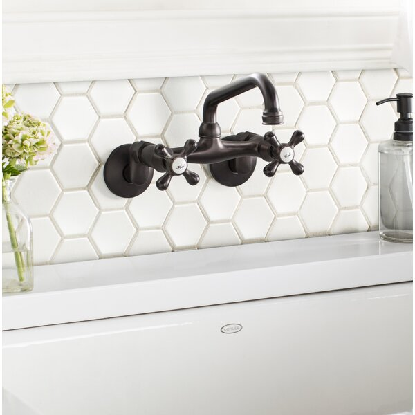 Wall Mount Kitchen Faucet, 4 - 9 Adjustable Spread by Elements of Design