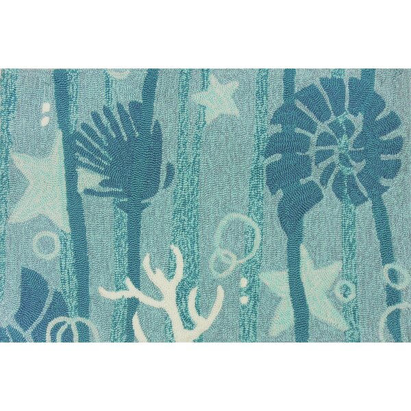 Coeymans Hand Hooked Turquoise/White Indoor/Outdoor Area Rug by Highland Dunes