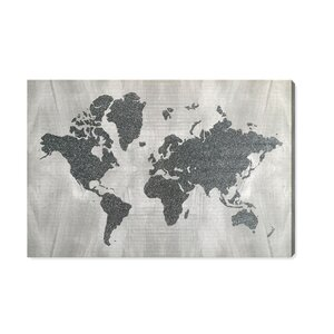 'The World in Silver' Silver Glitter Graphic Art on Canvas by Wrought Studio