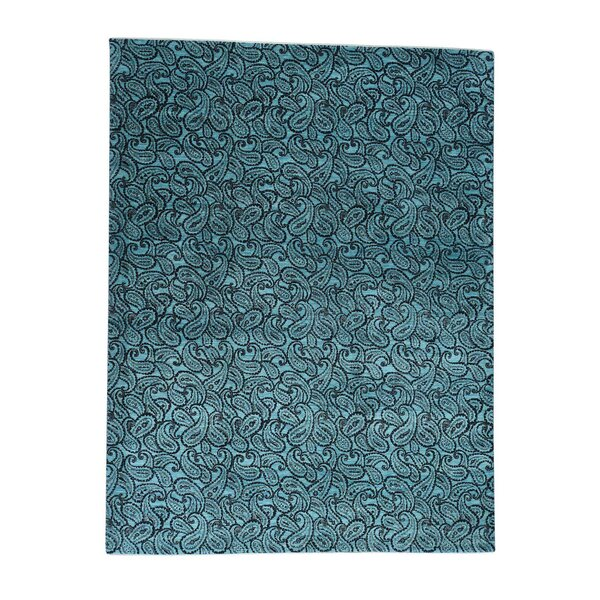 One-of-a-Kind Philips Paisley Dense Weave Art Hand-Knotted Silk Teal Area Rug by World Menagerie