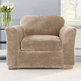 Stretch Plush Box Cushion Armchair Slipcover (Set