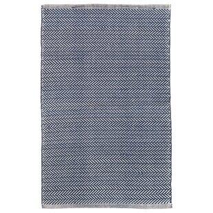 Herringbone Polypropylene Denim Blue Ivory Indoor Outdoor Area Rug