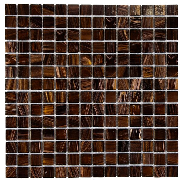 Fused 0.75 x 0.75 Glass Mosaic Tile in Brown and Gold by EliteTile