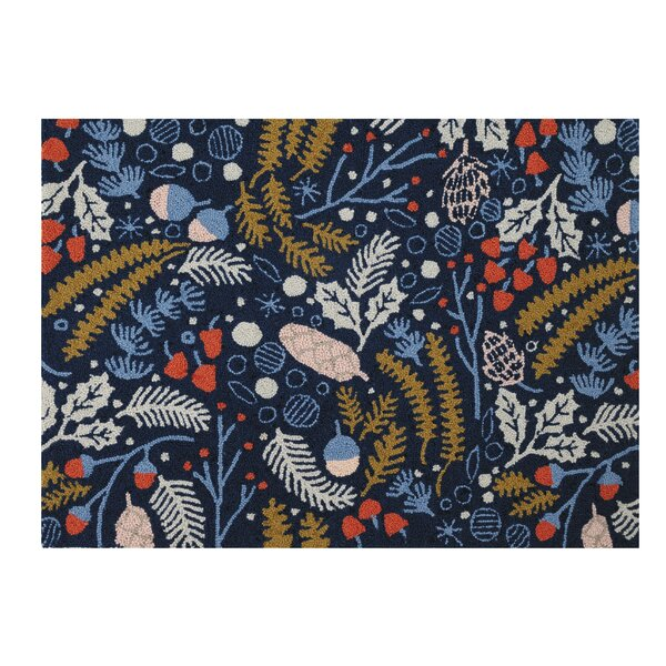 Matherly Festive Forage Hand-Hooked Wool Blue Area Rug by The Holiday Aisle